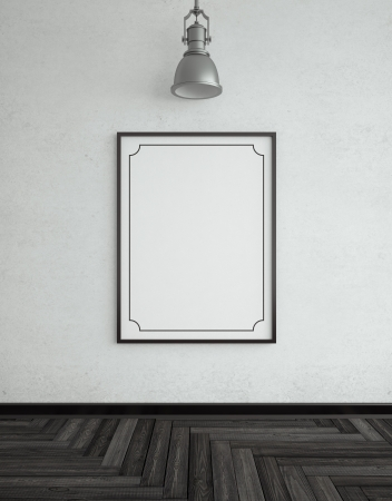 black frame with herringbone parquet and lamp photo