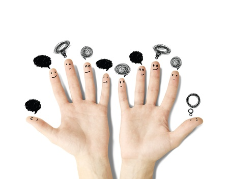 hands with drawing bubbletalks on white background photo