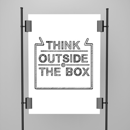 white poster think outside the box photo