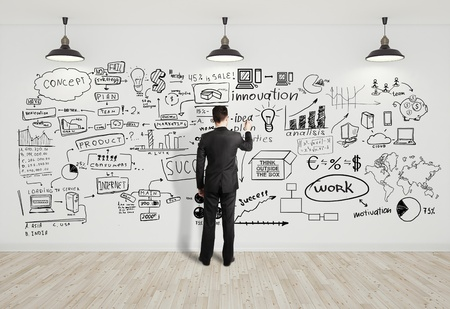 idea lamp: businssman drawing business concept on white wall Stock Photo