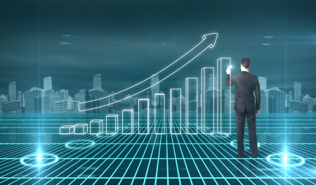 virtual community: businessman drawing graph on interface Stock Photo