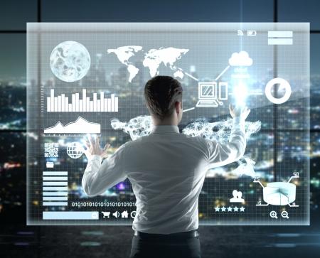 사업가 인터페이스, 높은 해상도를 누르면 스톡 콘텐츠