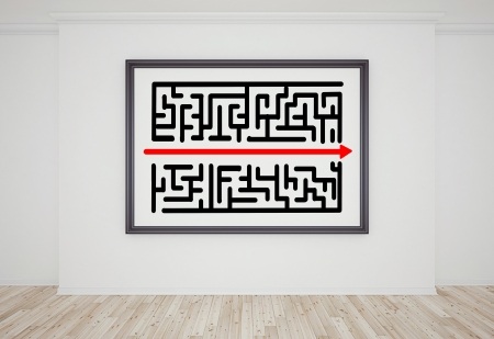 interior with drawing maze on frame photo
