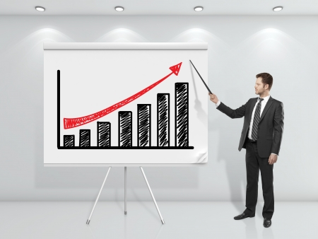 flip chart: businessman  pointing at business chart on flip chart