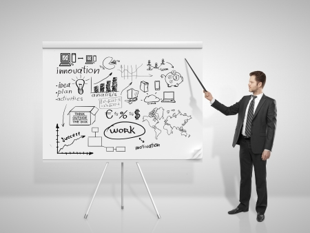businssman pointing at business concept on flip chart Stock Photo - 18920632