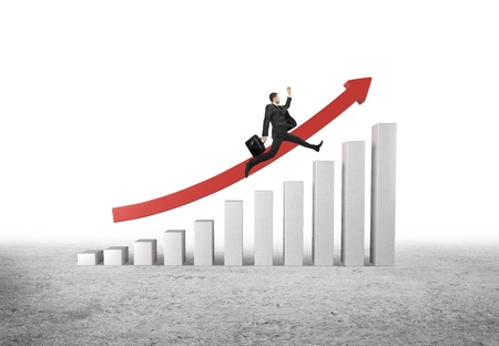 rung: businessman jumping from column to column with arrow Stock Photo