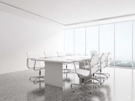 office wall: white office with big window
