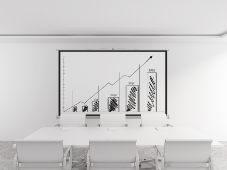 modern office with chart on wall Stock Photo