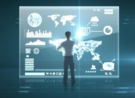 virtual community: businessman presses interface, high resolution