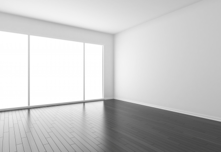 panelling: empty room with black parquet Stock Photo