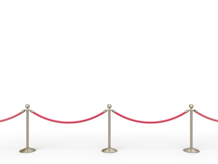 barrier rope: stanchions barrier isolated on white Stock Photo