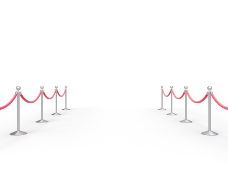 barrier: stanchions barrier in white room Stock Photo