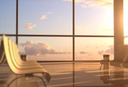 airport interior with big window Stock Photo - 19090374