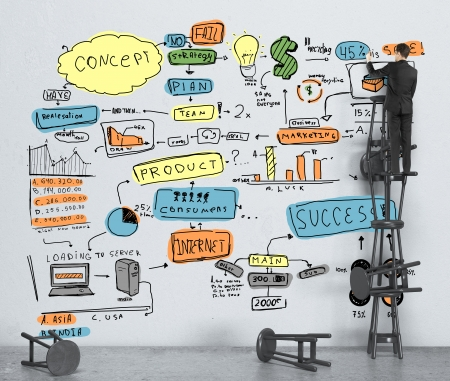 ビジネスマンの壁色のビジネス戦略を描画