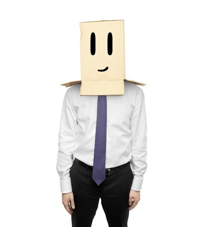 happy man with a box on head Stock Photo - 19434390