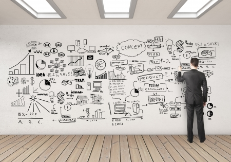 whiteboard: businssman drawing business concept on white wall Stock Photo
