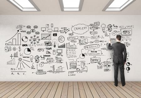 ötletroham: businssman rajz üzleti koncepció fehér fal Stock fotó