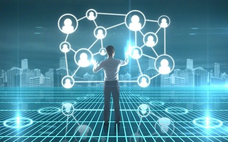 network map: businessman pushing interface with social icons