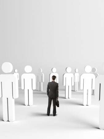 businessman standing and thinking on many 3d people Stock Photo - 19424197