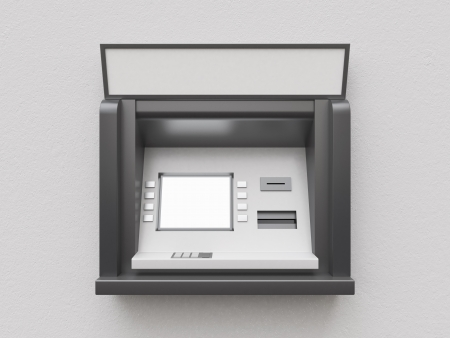 automatic teller machine bank: empty display atm on gray background Stock Photo