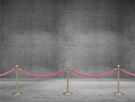 usher: stanchions barrier on concrete room Stock Photo