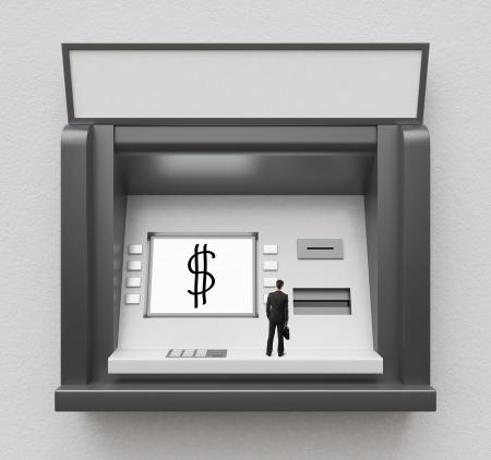 cash dispenser: tiny businessman looking at atm display
