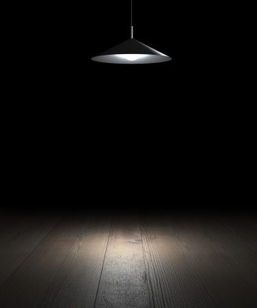 floor lamp: brown floor passing into darkness and lamp