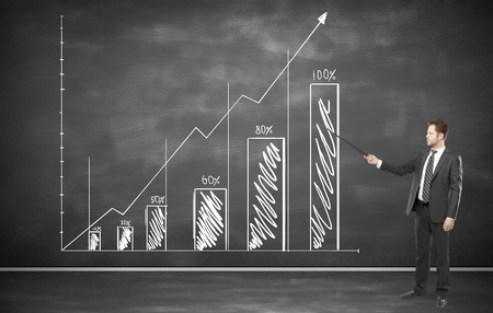 businessman pointing on a graph on wall Stock Photo - 19457263