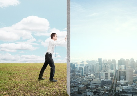 replaces: businessman replaces the nature of the city Stock Photo