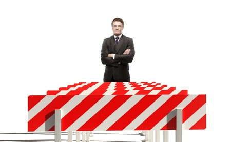 young businessman and sport obstacle photo