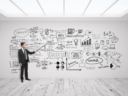diagram: businssman pointing at business concept on white wall