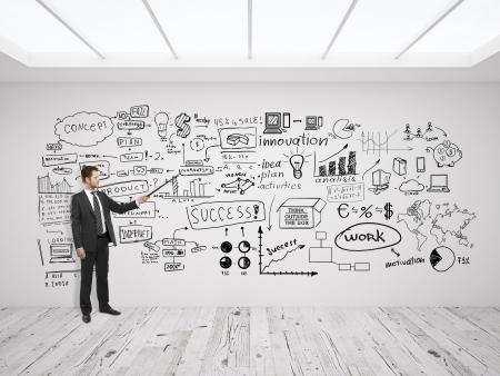 esquemas: businssman se�ala en el concepto de negocio en la pared blanca
