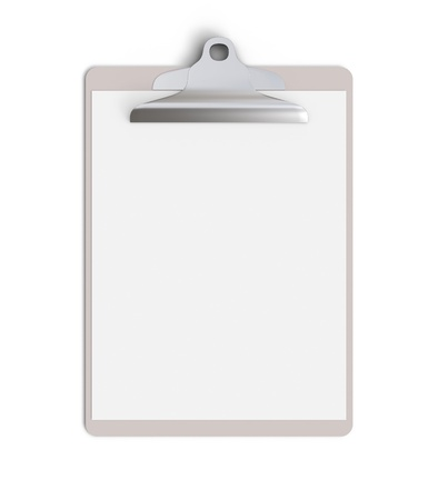 clipboard isolated: blank clipboard on a white background