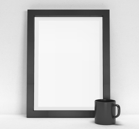 blank poster: blank frame and black cup Stock Photo