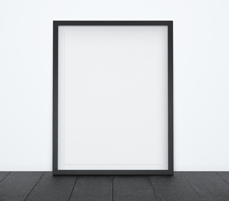 blank poster: black floor with blank frame Stock Photo