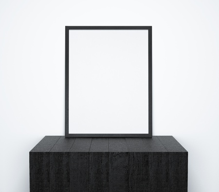 writing desk: blank frame on black cube