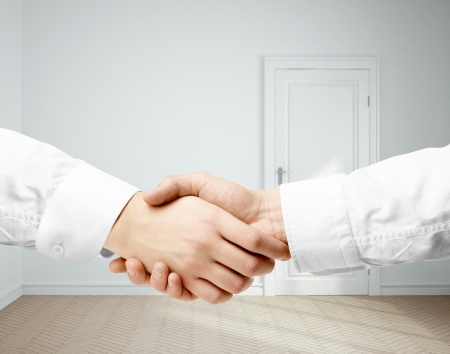 handshake and room on background Stock Photo - 19434670