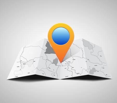topografia: pin icono de puntero en el mapa Foto de archivo
