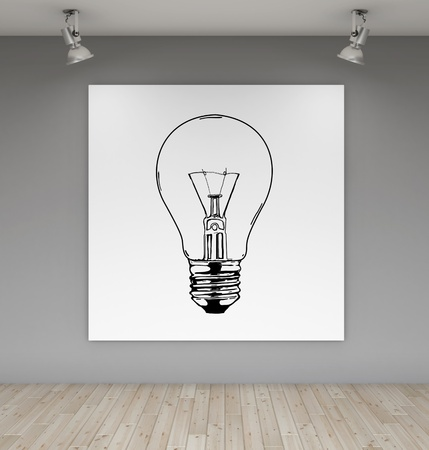 two lamps and poster with drawing lamp photo