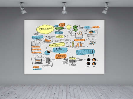 poster with business concept on wall Stock Photo - 19833528