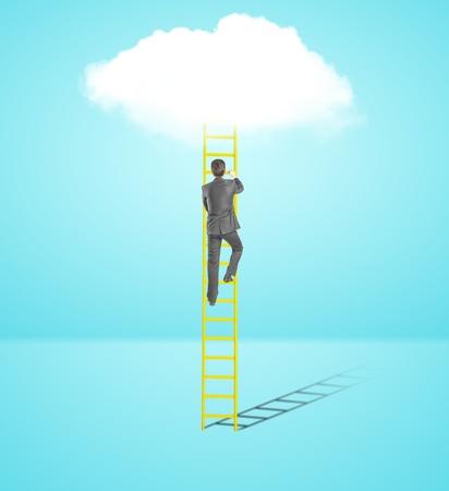 climbing ladder: businessman climbing on ladder  to cloud