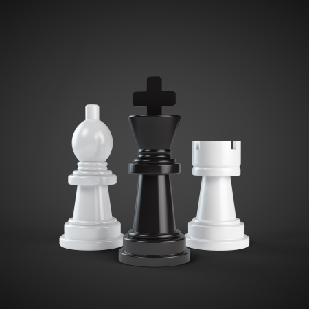 chess rook: chessmans on a black background