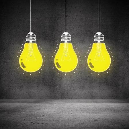 drawing glowing bulb on wall photo