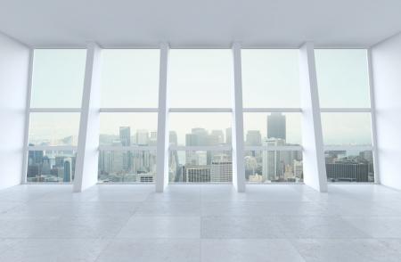 big window: interieur en grote raam in de stad