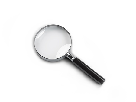 lupe: Magnifying glass isolated on white Stock Photo