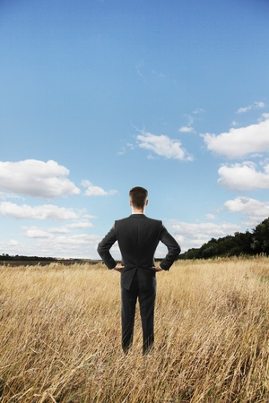 businessman looking in beautiful landscape photo