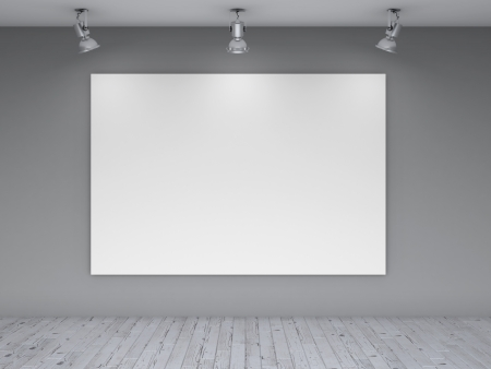 three lamps and blank poster on wall photo