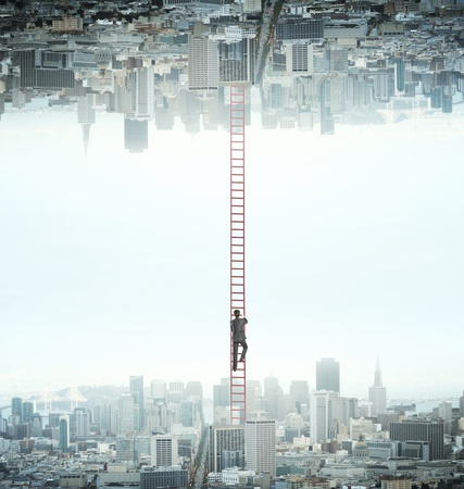 ladder of success: businessman climbing from city to another