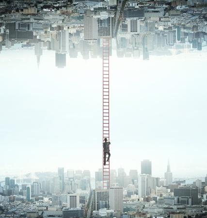 Hombre de negocios subir de ciudad a otra Foto de archivo - 20008670