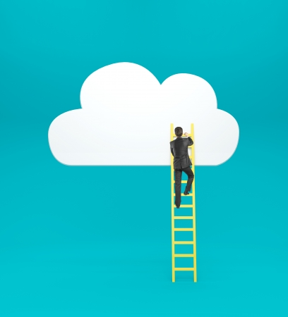 businessman climbing on ladder  to drawing cloud photo